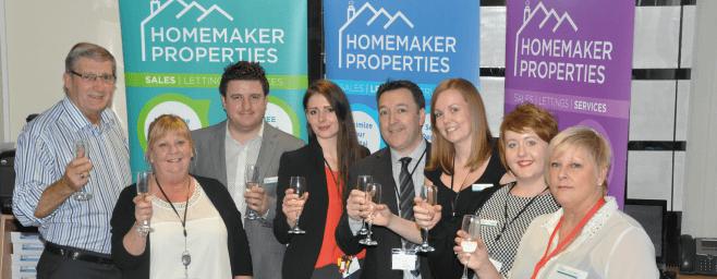 The Homemaker Properties team toasting the new Earlsdon shop